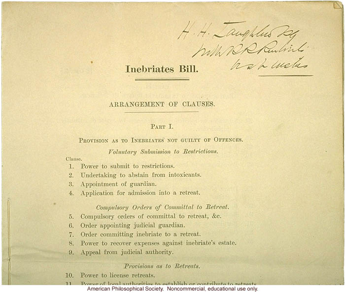 British House of Commons Bill on Inebriates, inscribed to H. Laughlin (1)