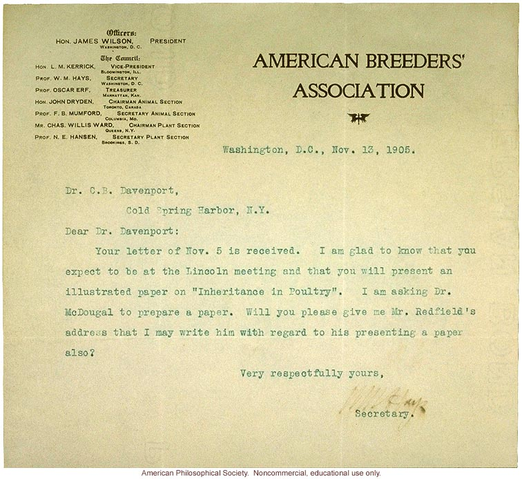 Wm Hays Letter To Charles Davenport About Inheritance In Poultry