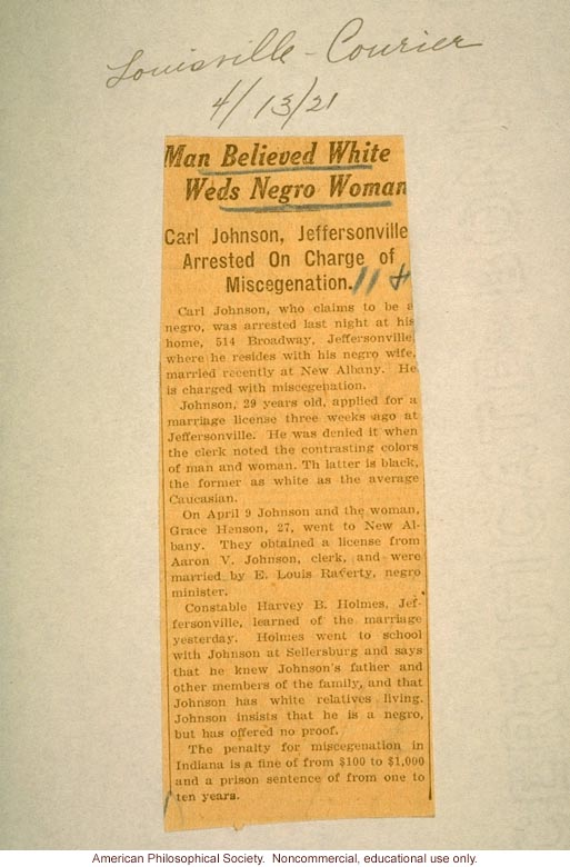 """Man believed white weds Negro woman,"" Louisville Courier"