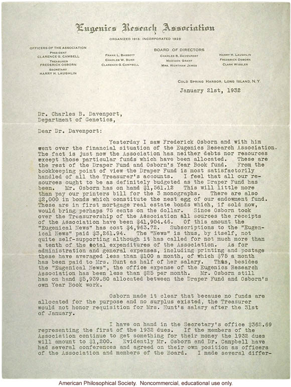 H  Laughlin letter to C  Davenport about the financial difficulties