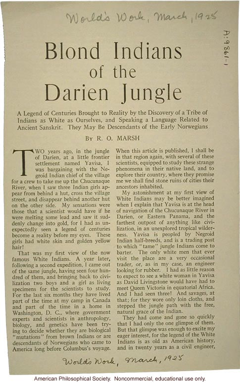 """Blond Indians of the Darien jungle,"" by R.O. Marsh, World's Work"