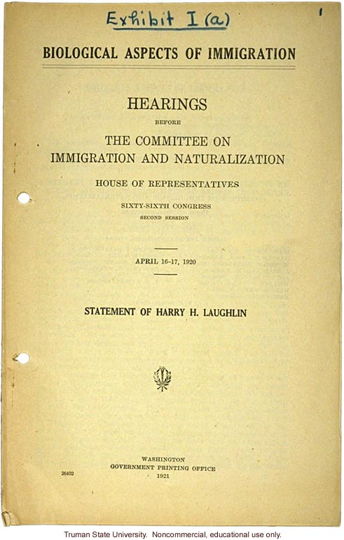 """Biological aspects of immigration,"" Harry H. Laughlin testimony before the House Committee on Immigration and Naturalization (2)"