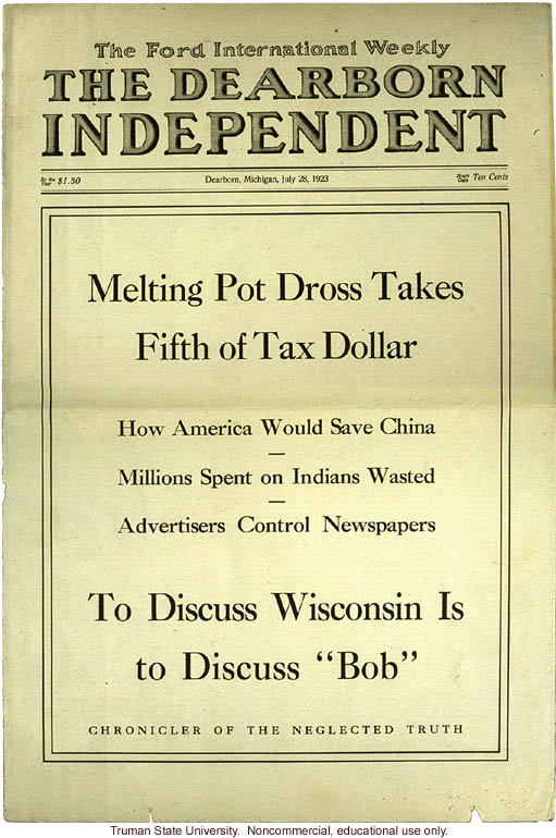 """Melting Pot Dross Takes Fifth of Tax Dollar,"" The Dearborn Independent (7/28/1923)"