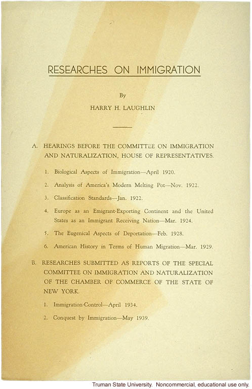 """Researches on immigration,"" by H. Laughlin"