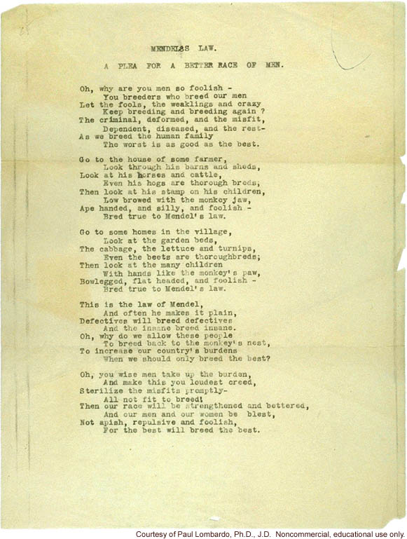 Mendel's Law Poem, by Joseph DeJarnette, MD, witness in Buck vs. Bell case