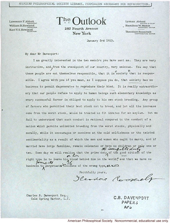 "T. Roosevelt letter to C. Davenport about ""degenerates reproducing"""