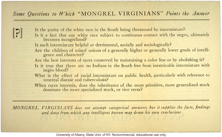 Brochure advertising Mongrel Virginians, by Arthur H. Estabrook and Ivan E. McDougle (1)