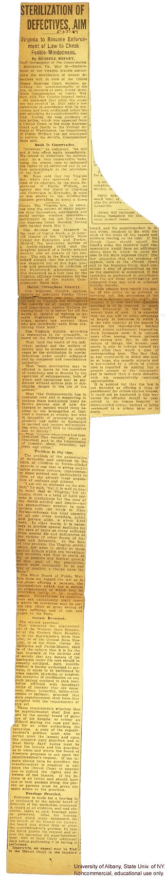 """Sterilization of Defectives, Aim,"" report on Buck v. Bell Supreme Court Decision, Richmond Courier Journal (5/26/1927)"