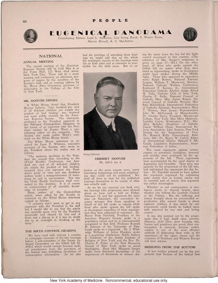 People (April 1931) news items: disputed quote by President Herbert Hoover, Senate tesitmony on birth control, use of eye color inheritance in courts