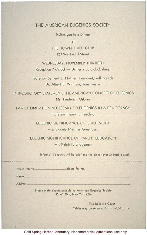 American Eugenics Society dinner invitation program including