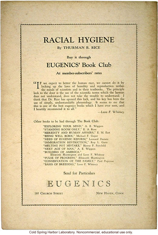 Advertisement for Racial Hygiene, for Eugenics' Book Club, Eugenics: A Journal of Race Betterment (vol II:8)