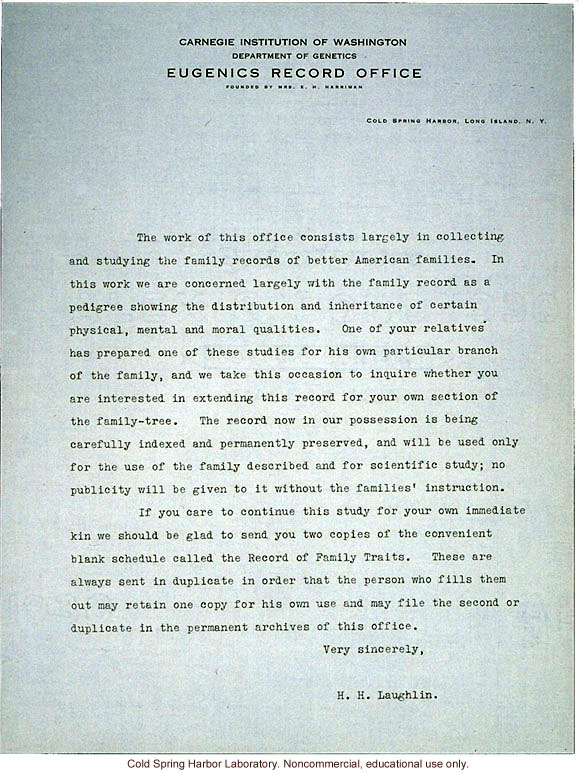 Harry H Laughlin Form Letter Requesting Pedigree