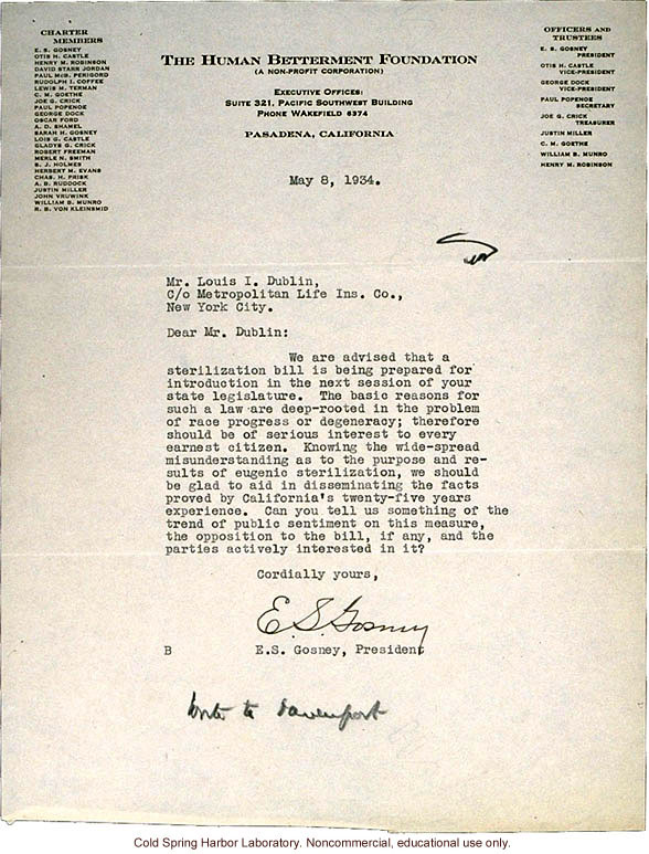 E.S. Gosney (Human Betterment Foundation) letter to L.I. Dublin (Metropolitan Life Insurance Company), about pending NY sterilization bill (5/8/1934)