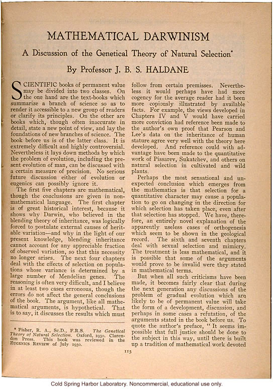 """Mathematical Darwinism, A Discussion of the Genetical Theory of Natural Selection,"" by J.B.S. Haldane, Eugenics Review (vol 23:1)"