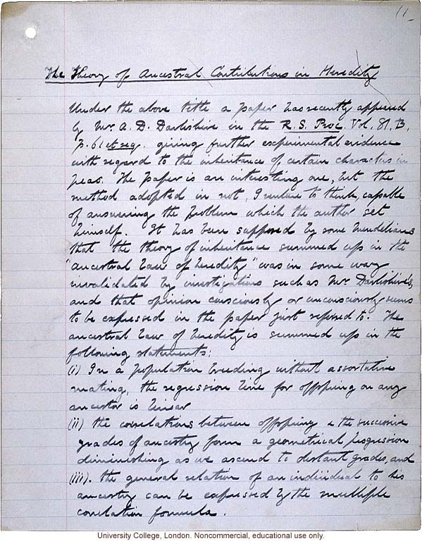 """Theory of Ancestral Contributions in Heredity,"" handwritten manuscript by Karl Pearson, published in Proceedings of the Royal Society (vol. 81:547) (1)"
