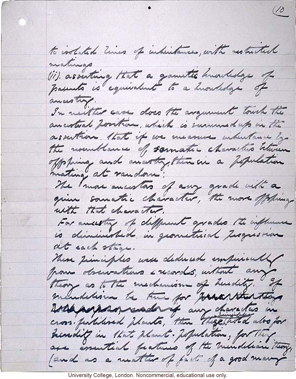 """Theory of Ancestral Contributions in Heredity,"" handwritten manuscript by Karl Pearson, published in Proceedings of the Royal Society (vol. 81:547) (10)"