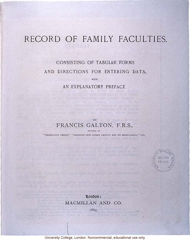 Record of Family Faculties, by Francis Galton (compiled with completed family pedigree forms), selected pages (2)