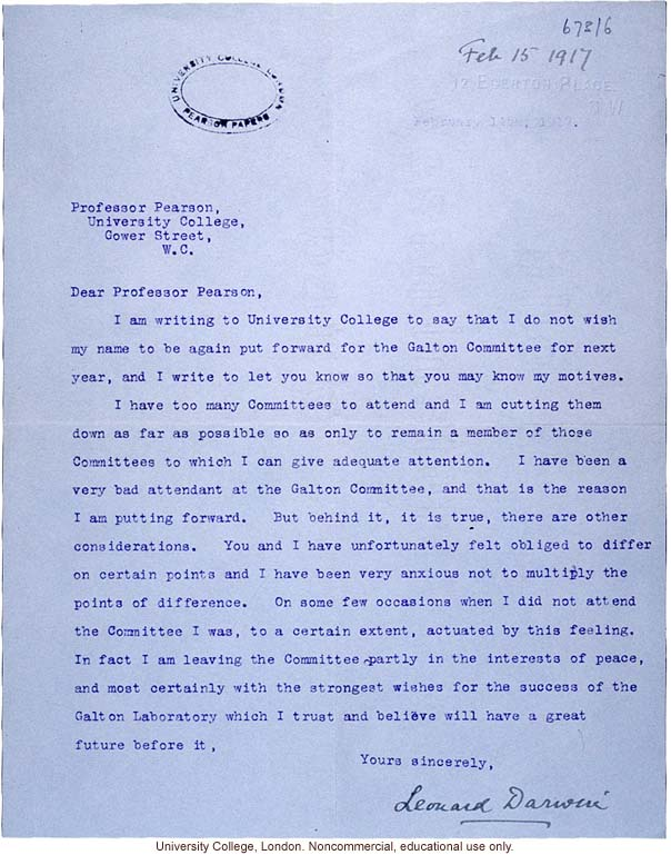 Leonard Darwin Letter To Karl Pearson Resigning From Galton Committee To  Maintain Peace In The Face Of Their Ongoing Disagreements (2/15/1917)