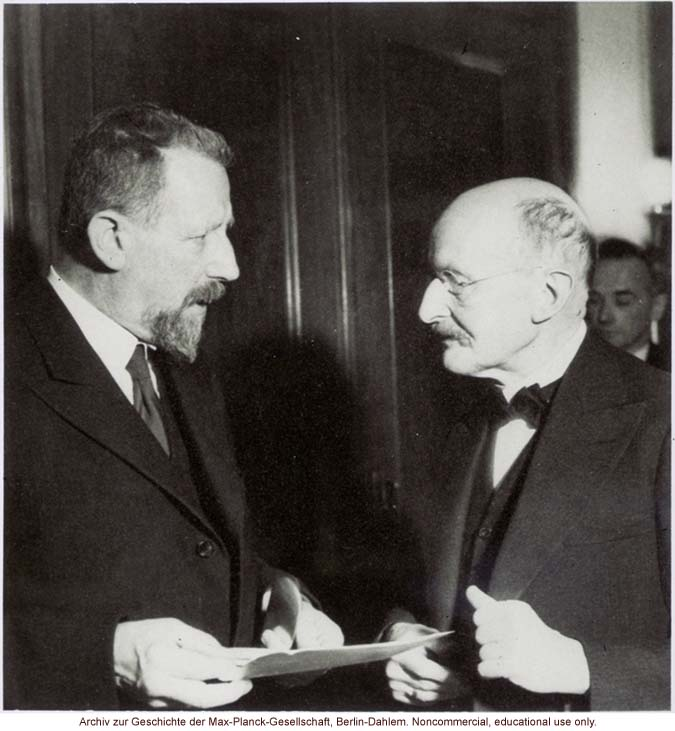 Eugen Fischer, Director of the Kaiser-Wilhelm Institute for Anthropology, Human Genetics, and Eugenics (1927-1942), with physicist Max Planck
