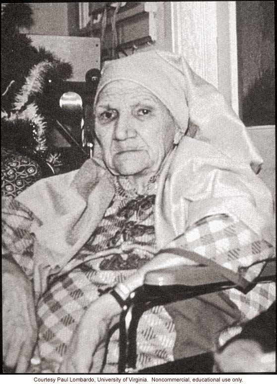 Last photograph of Carrie Buck, taken several weeks before her death, dressed as Mary for the Christmas pageant at the nursing home where she lived