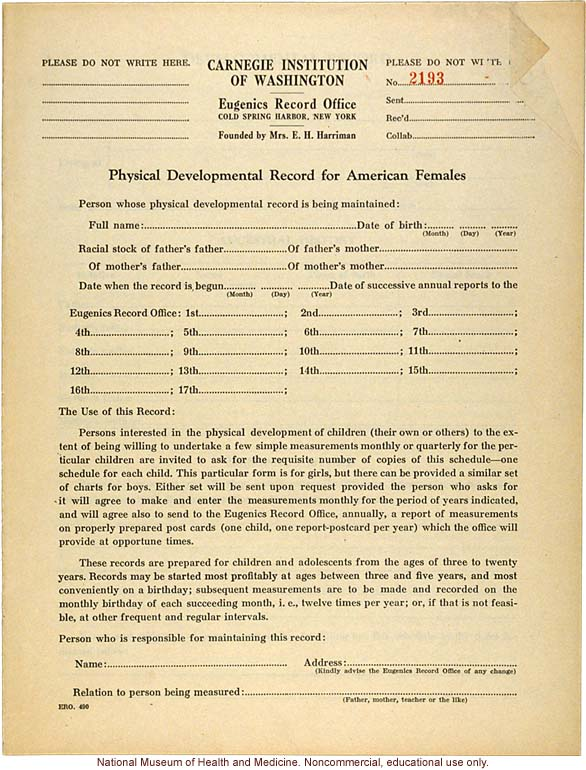 physical development record for american females eugenics record