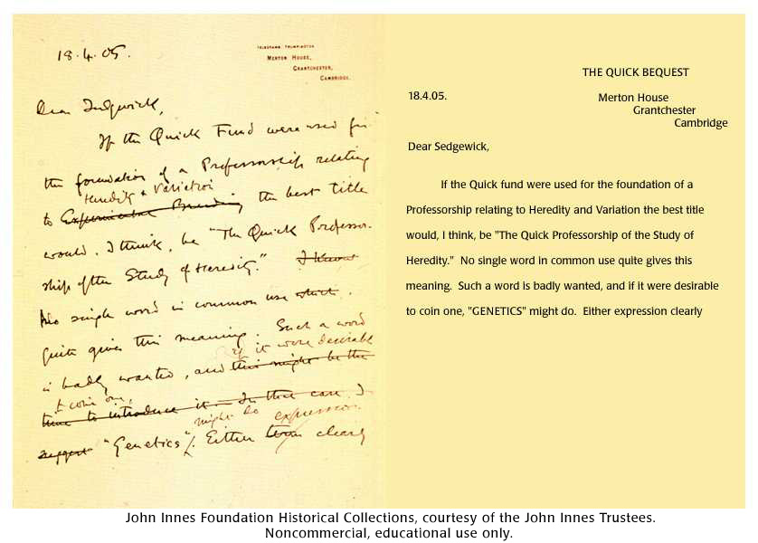 william bateson letter page 1 - Letter Page