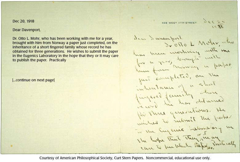 Gallery 13 Letter from T H Morgan to Charles Davenport page 1