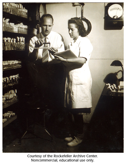 Gallery 16:  Beadle and assistant in the Neurospora storeroom at Stanford, 1949.