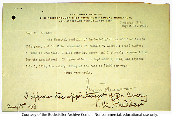 Gallery 17:  Oswald Avery's  memorandum of appointment